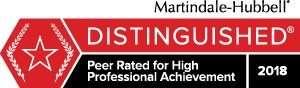 Martindale-Hubbell Distinguished badge JMH 2018